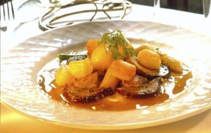 Seared Cape Scallops with Cèpe Mushrooms and White Asparagus, Mushroom Vinaigrette by Takashi Yagihashi