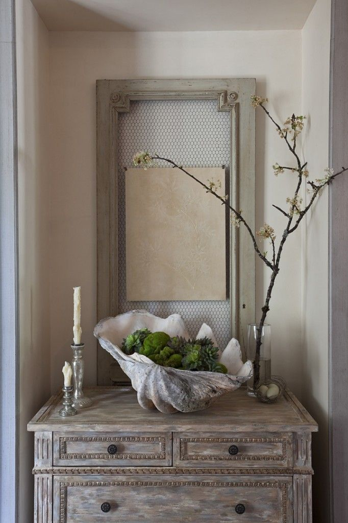 Coastal Decor With Gray Dresser Giant Shell Distressed Wood Mirror Twig Art