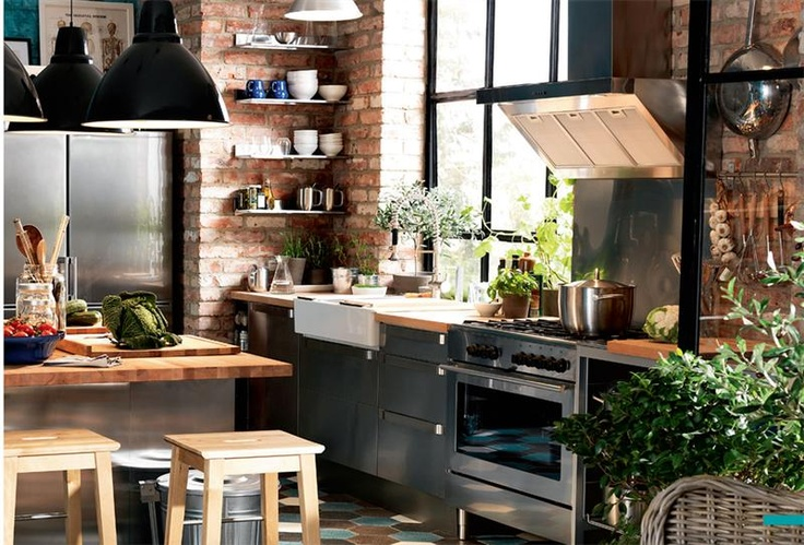 Rustic kitchen (ikea) I love exposed brick Home Sweet Home - kchen ikea