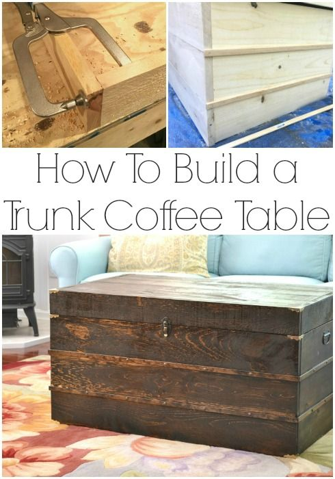 Free build plans to make your own trunk coffee table | iamahomemaker.com |DIY coffee table