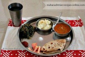 Methi chi Bhaji ani Pavta Amti Recipe / Fenugreek Leaves Sabzi and Lima Beans Curry / Maharashtrian Vegetarian Thali