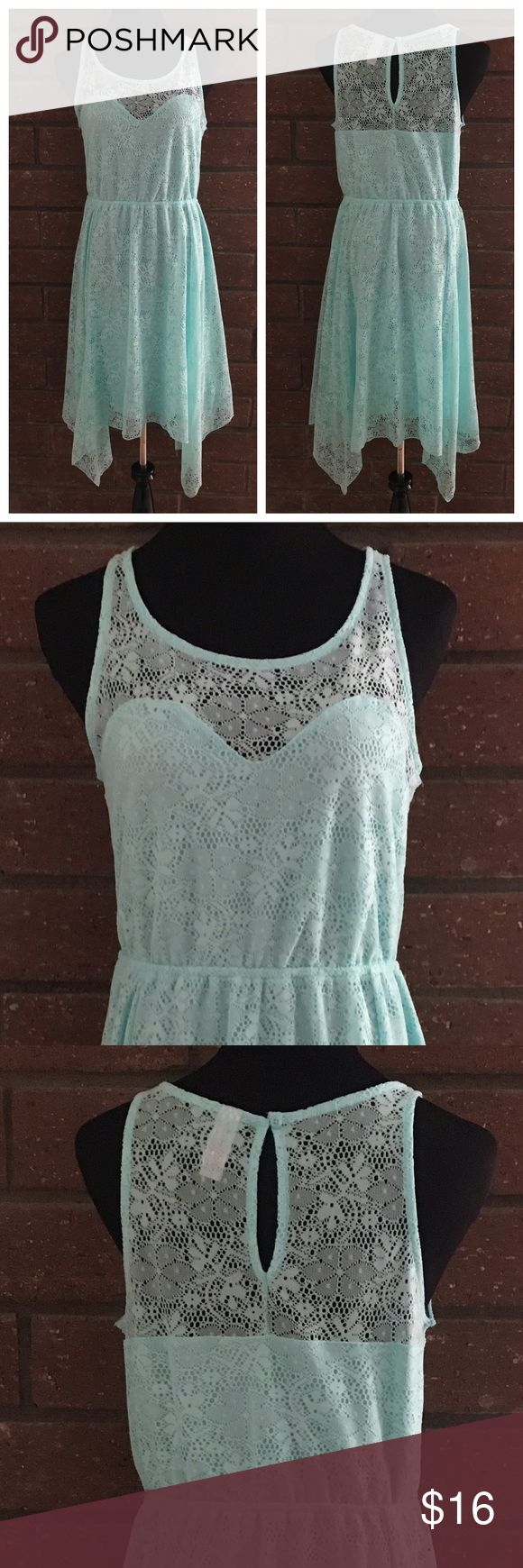 "🎁 Sleeveless Turquoise Lace Dress To hot for outdoor photos. 😉 This lovely sleeveless lace dress is 100% Polyester & lined. Single button back of neck & elastic waist. Measurements flat are 20"" pit to pit, 47"" long from shoulder seam to longest point at bottom of dress, 14"" relaxed & 21"" stretched waist. In excellent new condition with NO damage. NWT Also available in peach. Tag says XL (15-17). No Boundaries Dresses"