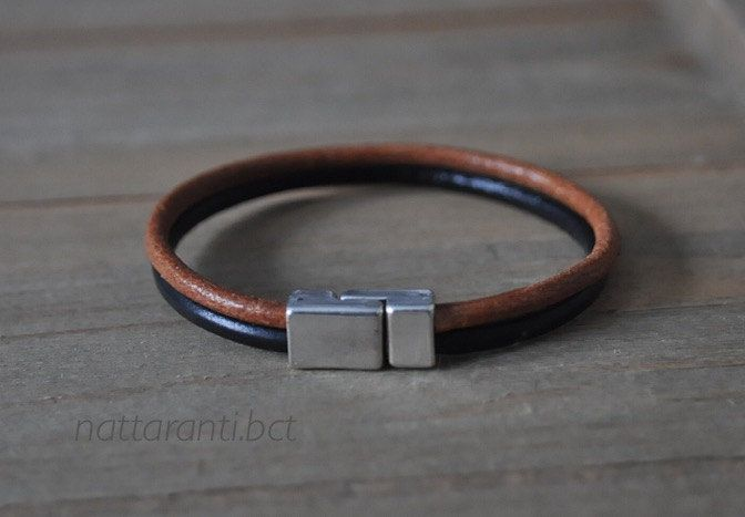 share wont be long ! Genuine leather black brown tan multi stripe double cuff silver plated magnetic end modern minimalist by nattaranti on Etsy