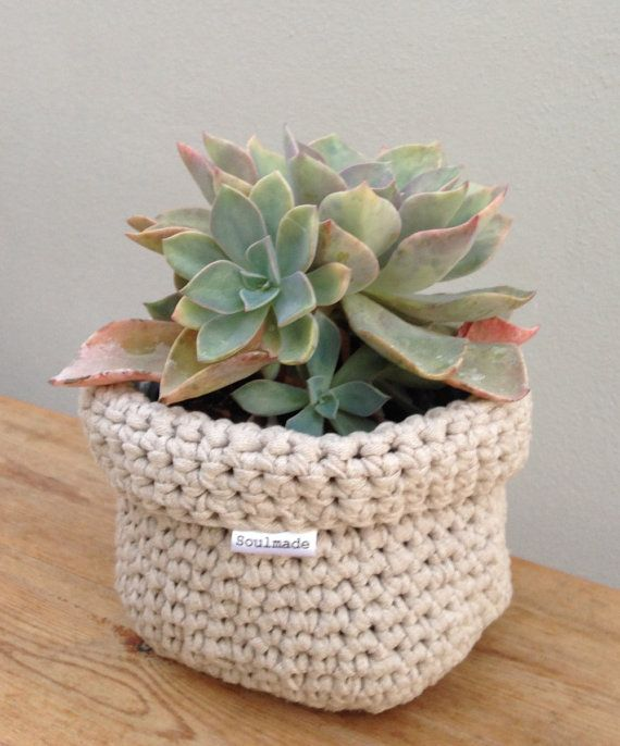 Beige Square Crochet Basket