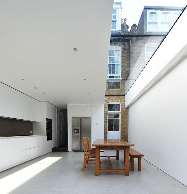 Terraced House Extension, Queens Park , Porcelain tiles , minimalist design , old a new ,  North London , LBMV architects