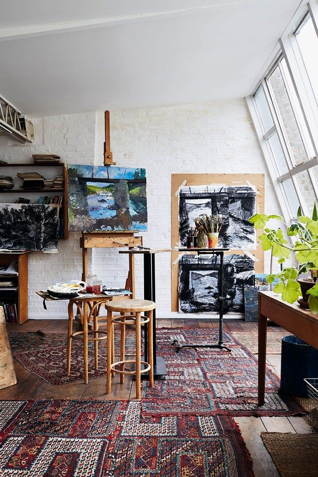 Sketches and works in progress fill Linda's attic studio.