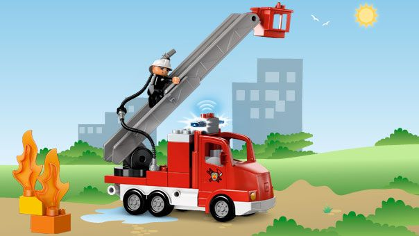LEGO® DUPLO® - Fire Truck Emergency! Drive to the scene, use the extendable ladder with basket to rescue someone from a tall building and then put out the fire. Everything you need to save the day!