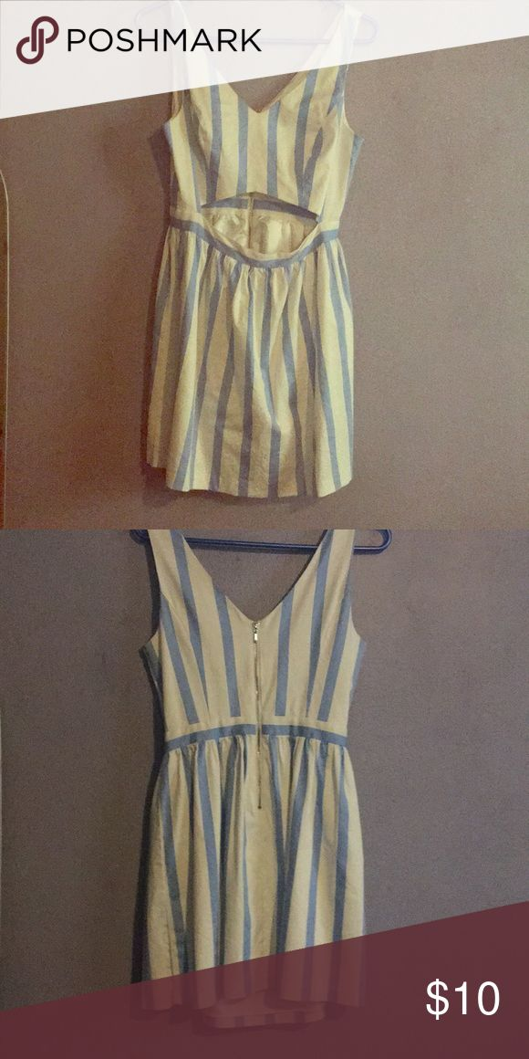 Blue and white striped cutout dress Cute dress for birthdays and going out! Is mid length so its not too short or too long Forever 21 Dresses