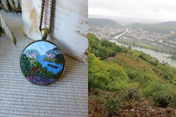FREE SHIPPING Custom Landscape necklace by EmbroideredJewerly