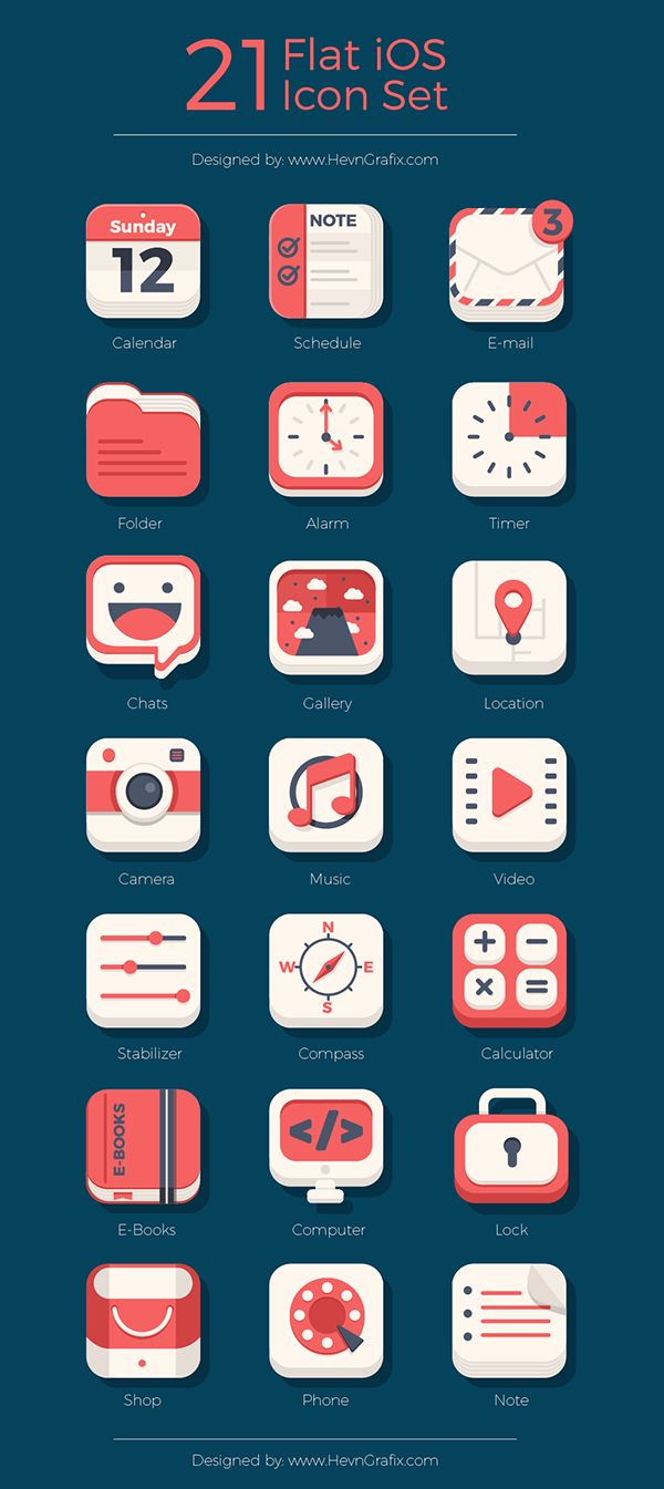 21 Flat iOs icon SetMy CMS