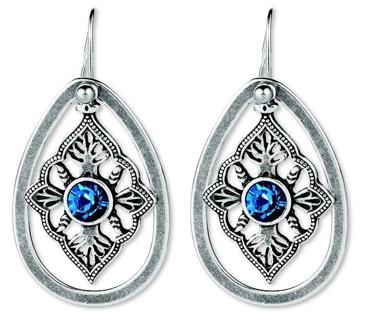 Exotic drop earrings with blue Swarovski Crystals and detachable french wires (E2321) Earring charms are also completely detachable so these can be worn alone too.