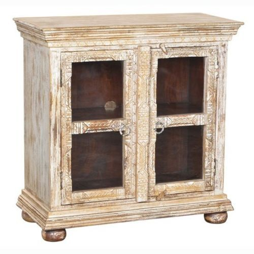 "38"" Hand Carved Mango Wood Glass Display Cabinet Antique White Distressed Rustic- $749.00"