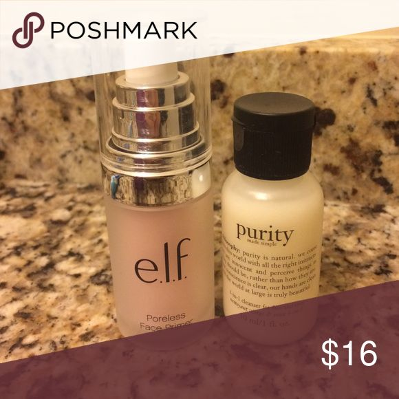Lancome, Philosophy, e.l.f. , Benefit. - Elf Poreless Face Primer. - Philosophy Purity Made Simple Cleanser: 30 ml / 1 oz . - Benefit mascara they're Real 0.1 oz. Lancome Blush Subtil Aplum 2.5 g. E.l.f. , Philosophy and Benefit have never been used and the Lancome blush I only did a swatch to check out the color. Makeup