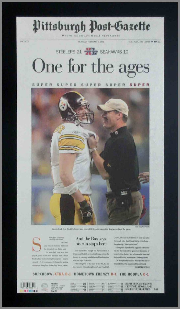 Pittsburgh Steelers Wood Mounted Poster Print - Cowher Roethlisberger - Super Bowl XL