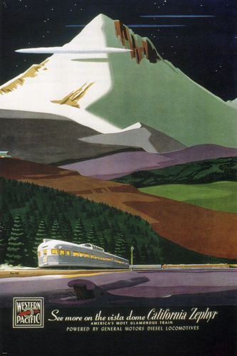 CALIFORNIA ZEPHYR TRAIN vintage travel poster by B HILL US 1950 24X36 rare - VW0