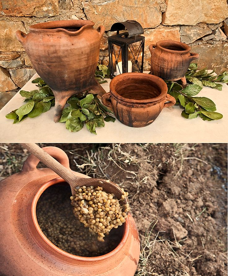 Minoan Tastes - Using a collection of clay replicas of ancient Minoan cook pots and utensils, the demonstration takes place around a large stone hearth.