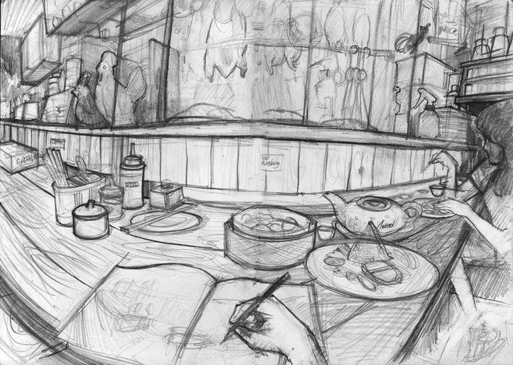 sketching in mangkok ayam - bandung