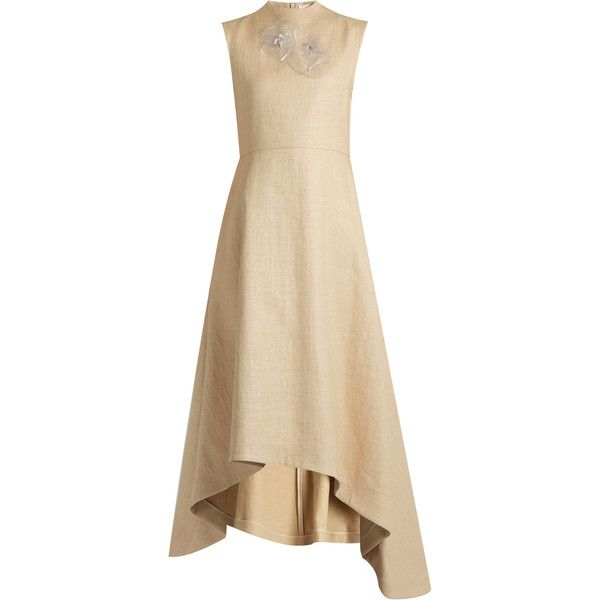 A.W.A.K.E. Natural Princess straw-effect dress (2.130 BRL) ❤ liked on Polyvore featuring dresses, beige, brown summer dresses, going out dresses, sheer cocktail dress, sheer summer dresses and beige cocktail dress