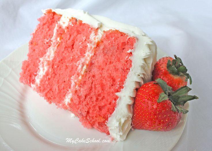 Strawberry Cake (Doctored Mix) recipe by MyCakeSchool.com!