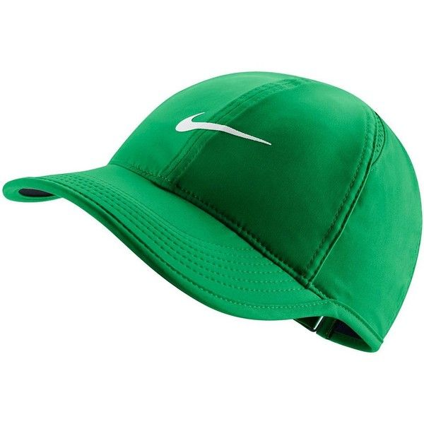 Women's Nike Featherlight Dri-FIT Hat ($24) ❤ liked on Polyvore featuring accessories, hats, green oth, print hats, embroidered ball caps, ball cap hats, embroidered baseball hats and green baseball hat