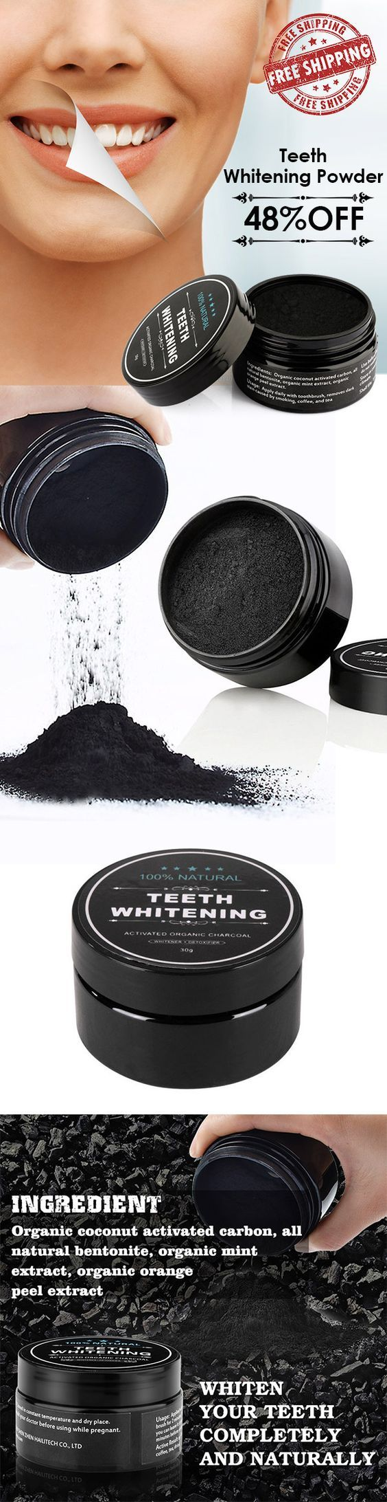 FREE Shipping! 100% Natural Teeth Whitening Powder Activated Bamboo Charcoal Smoke Coffee Tooth Stain Cleaning