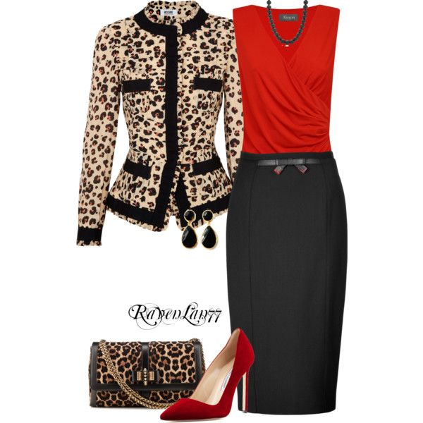 Red and Animal Print by ravenlancaster on Polyvore featuring moda, Alexon, Moschino Cheap & Chic, Burberry, Manolo Blahnik, Christian Louboutin, toosis and Tiffany & Co.
