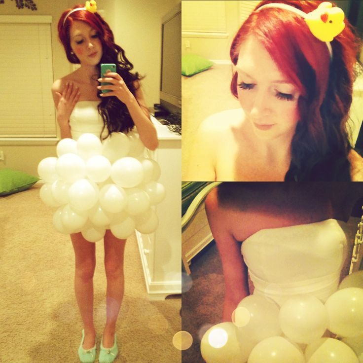 This site has some great easy diy costume ideas!.. cute costume, and love the added duckie headband!!! I would add a long sleeve white shirt and white leggings so it's less revealing, but other than that it's a cute idea! Bubble bath! Could even carry a loofah!
