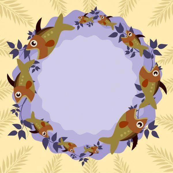 circle border template fish icons ornament repeating