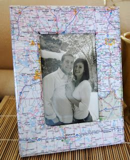 Use a map of special places (where you met, places you've traveled, etc.) to decorate a picture frame!