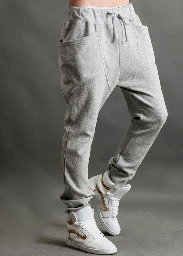 Excellent Women Loose Casual PantsBlack Drop Crotch Pants Unisex Harem Pants