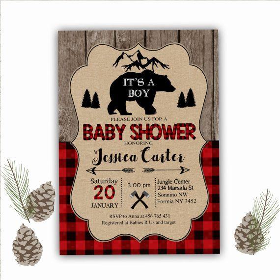 Lumberjack Baby Shower Invitation Buffalo by RainbowSweetStudio
