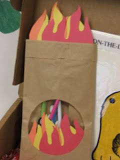 Blessings for Bible School Teachers: A Fiery Furnace Craft-  A paper lunch bag was used upside down.  A hole was cut out with flames added to the hole and above the bag.  Pictures of the 3 friends were made and placed on straws so the kids can put them in and out of the furnace.  Tissue paper can also be used to make the flames.