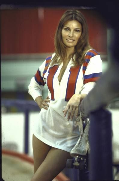 """Kansas City Bomber Actress Raquel Welch in roller derby uniform during filming of motion picture """"The Kansas City Bomber."""" Location:US Date..."""