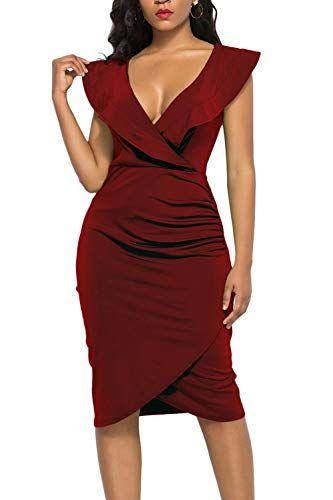 6409a6b8961c5 WIWIQS Women's Sexy Deep V Neck Long Sleeve/Sleeveless Bodycon Dress Front  Slit Bandage Midi