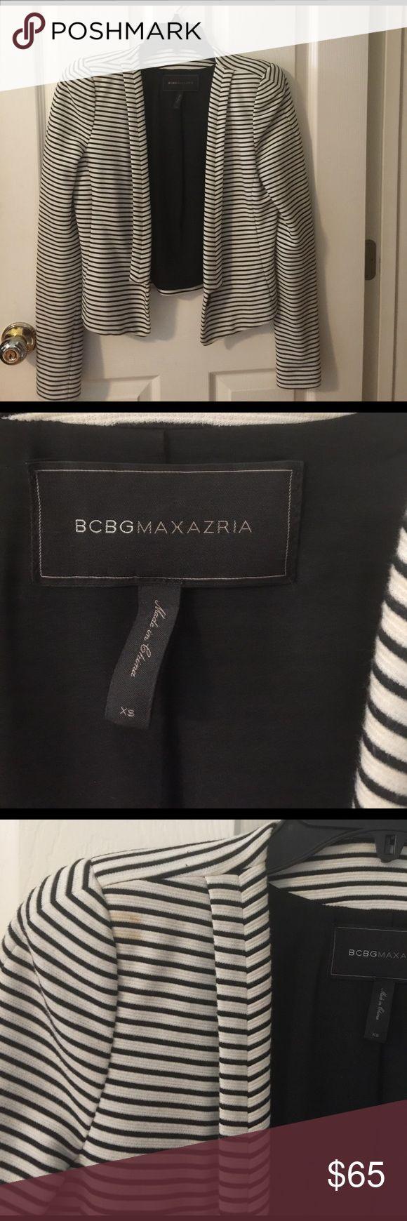 Bcbg Maxazria hendrix striped Blazer Bcbg Maxazria hendrix striped Blazer. Minor make up stain as shown in photo. Dry cleaning should be able to remove it. BCBGMaxAzria Jackets & Coats