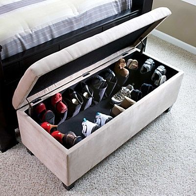 Shoe Ottoman. Love it. ottoman for storing anything - food, linen, laundry  cleaning supplies extra seating for company