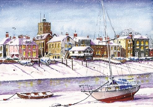 """Wivenhoe. 125 x 175mm. £4.50. All cards come in packs of 10.  Greeting in cards: """"With Best Wishes for Christmas and the New Year."""""""