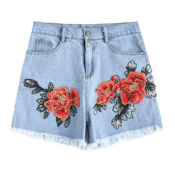 Floral Patched Frayed Hem Denim Shorts ($23) ❤ liked on Polyvore featuring shorts, floral print shorts, short jean shorts, floral printed shorts, light blue denim shorts and patch shorts