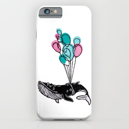 Marie-Eve Arpin - Art https://www.facebook.com/MarieEveArpinArt Balloons Whale II 2015. Society6. Iphone & Ipod Case. Deco Design Illustration Animal Caribou Art