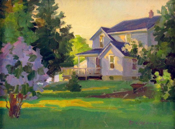 So peaceful... First Light, Farm and Lilacs- Ken DeWaard