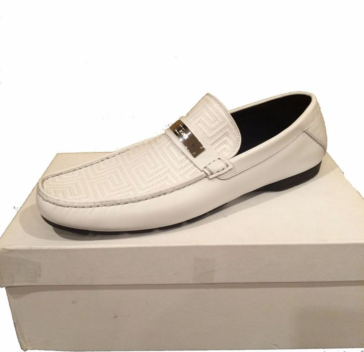 Gianni Versace Men's White Loafer Leather Italy Shoes Sz 13 Driving Moccasins #Versace #LoafersSlipOns