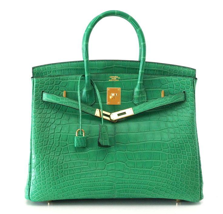 Hermes Birkin Bag 35 Matte Alligator Cactus Gold Hardware #hermes