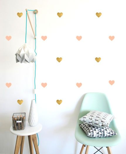 Pink/Gold Heart wall stickers #tinitrader #kidsbedlinen #kidsbedroom #kidsdecor