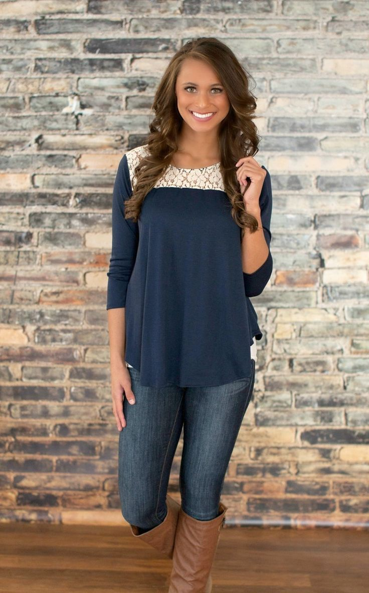 Style Inspiration: This a beautiful top with lace detailing. Perfect fabric and cut for postpartum wear, especially for fall.
