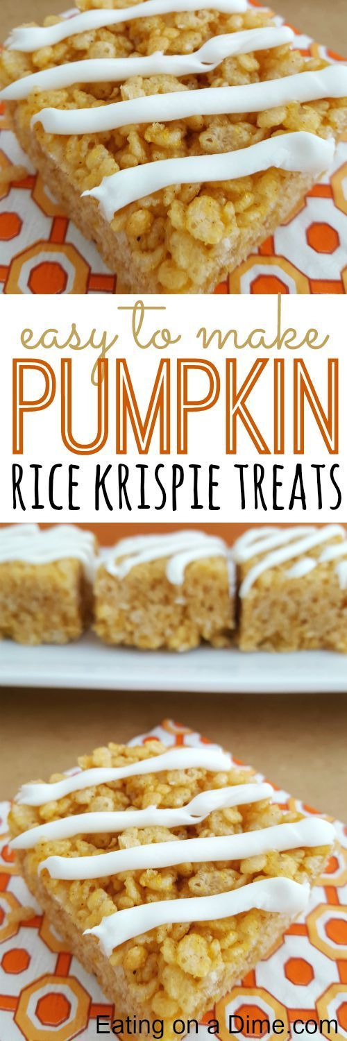 These Pumpkin Rice krispie treats are delicious. You can cut them up small and slide them into a school lunch for a special treat or serve them at your next party. Either way, your family will love this easy dessert. Click through for recipe!