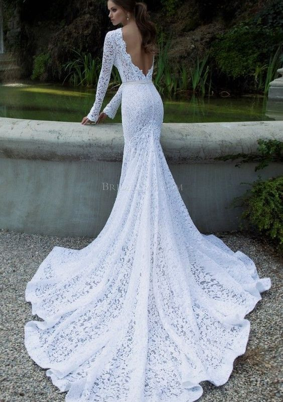 Vintage Lace Wedding Dresses Mermaid Long Sleeve Backless New White Bridal Gown IN LOVE WITH THIS ONE!!!: