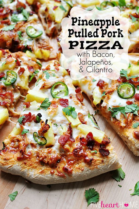 Pineapple Pulled Pork Pizza with Bacon, Jalapeños, Cilantro, and Homemade Pineapple BBQ Sauce (instead of pizza sauce) | FiveHeartHome.com: