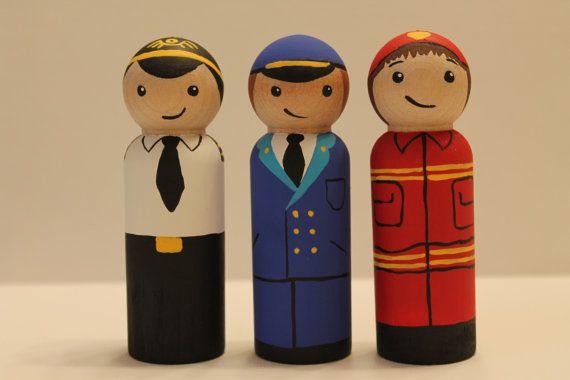 Little Men Set  Fireman Pilot Train Conductor Peg by TagalongPals, $27.00