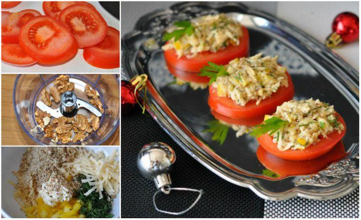 закуска из свежих помидоров Любители легких закусок оценят: орехово-сырная паста с перцем и чесноком на ломтиках свежих помидоров… Блаженство!