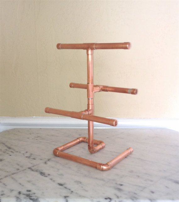 Industrial Jewelry Tree, Copper Pipe Stand Jewelry Organizer, Steampunk Copper Rack, Necklace/Bracelet Stand, Valentine Gift for Her For Mom
